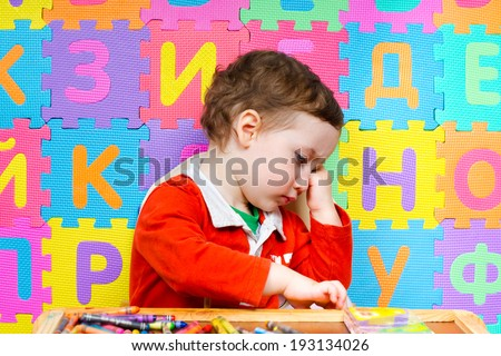 The child refuses to do drawing lessons. The early development of children of preschool age  - stock photo