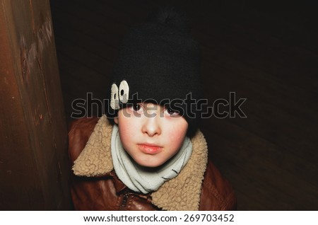 The Child's portrait on the street - stock photo