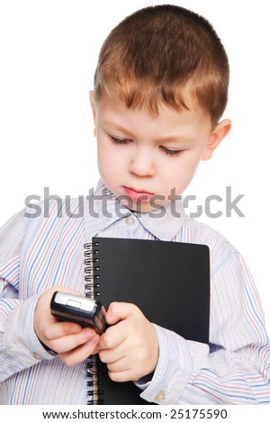 The child the businessman. A photo on a white background. - stock photo