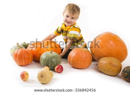 the child with pumpkins