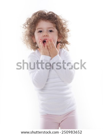 the children's emotions like happy, sad, funny, angry isolated on the white background - stock photo