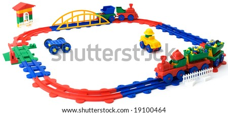 The children's plastic colour railway it is isolated on a white background - stock photo