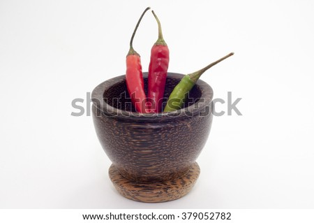 the chili in focus over white background