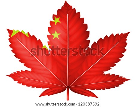 The Chinese flag painted on  cannabis or marijuana leaf - stock photo