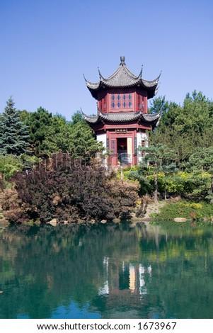The Chinese Garden of the Montreal Botanical Garden. - stock photo