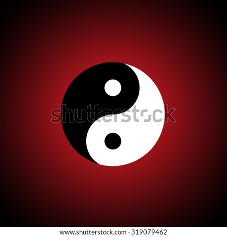 The Chinese symbol (yin-yang). A dark red background. - stock photo