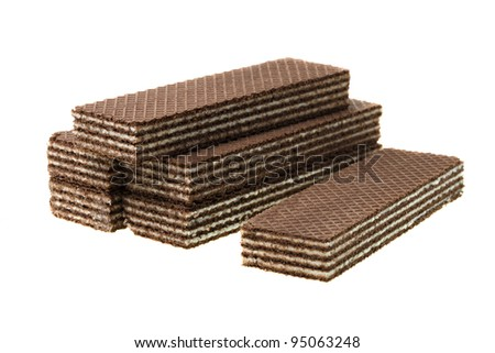 The chocolate wafers isolated on a white background with a white dairy stuffing - stock photo