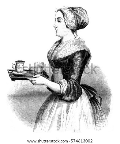 The Chocolatiere by Liotard, vintage engraved illustration. Magasin Pittoresque 1846.