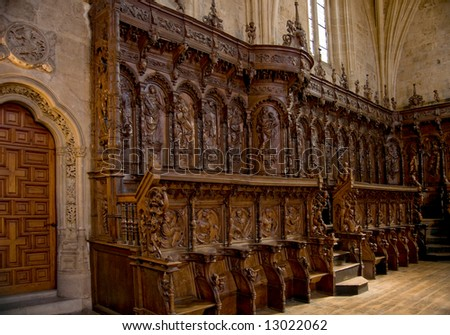 The Choir Stalls of San Marcos Convent. The sixteenth century. Leon, Spain