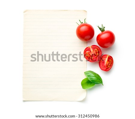 the chopped tomatoes and basil leaf with blank paper - stock photo