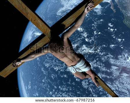 The Christ on a background of a planet - stock photo