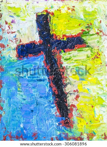 The christian cross, original oil painting on canvas - stock photo