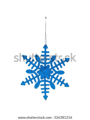 The Christmas blue hanging decoration snowflake isolated on white background - stock photo