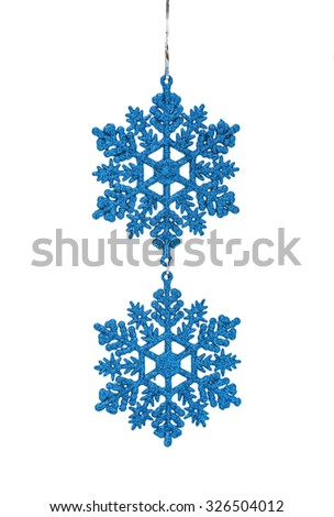 The Christmas blue hanging decoration snowflakes isolated on white background - stock photo