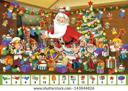 The christmas - board game - Santa Claus - illustration for the children - stock photo