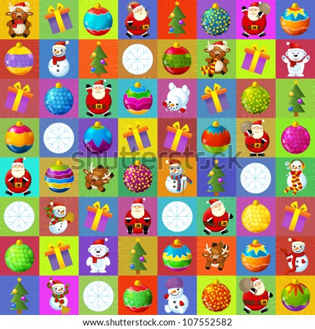 The christmas illustration - squares - stylish - elegant - good for wrapping - advertisement - great presentation for children 2 - stock photo