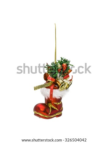 The Christmas red hanging decoration  toy  isolated on white background - stock photo