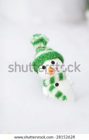 The christmas snowman in the outdoor. - stock photo