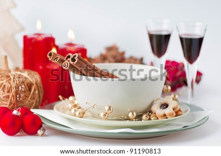 The christmas still life - cookies, candles, glasses, balls