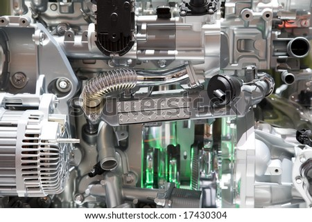 The Chrome Automobile Motor And Cylinders