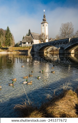The church dedicated to John the Baptist in Ribcev Laz on the Bohinj Lake, in Slovenia - stock photo