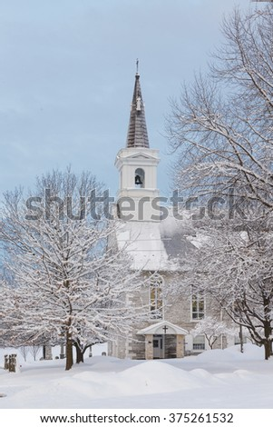 The church house after a winter storm