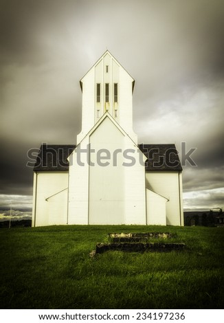 The church in Skalholt, Iceland - stock photo