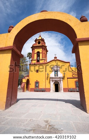 The church in the centre of historic downtown of Bernal  - stock photo