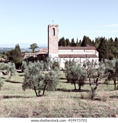 The Church in the Middle of an Olive Grove, Italy, Vintage Style Toned Picture