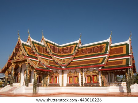 The Church of Buddhism, Wat Phra That Choeng Chum, decorate Thai style - stock photo