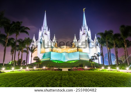 The Church of Jesus Christ of Latter-Day Saints Temple at night in San Diego, California. - stock photo