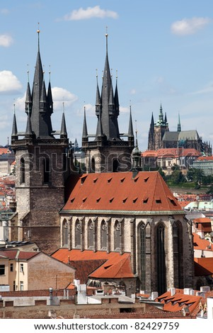 The Church of Our Lady Before Tyn in Prague, Czech republic - stock photo