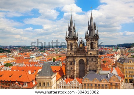 The Church of Our Lady before Tyn. The Old Town Square Prague Czech Republic. - stock photo