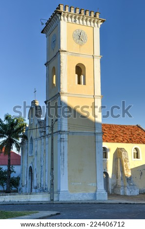 The Church of Our Lady of Conception in Inhambane, Mozambique. The Catholic Church was originally included in the plans and design of the Portuguese fortifications. - stock photo