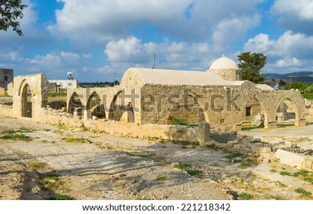 The Church of Panagia Katholiki located in the famous village Kouklia next to the archaeological site, Cyprus. - stock photo