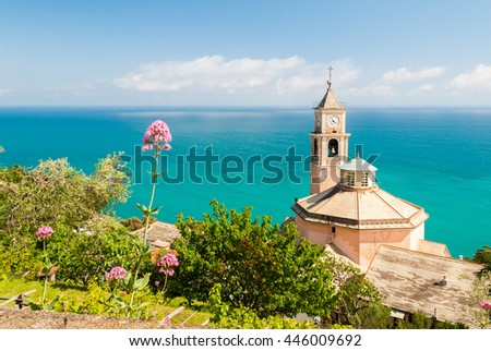 The church of S. Eugenio, in the small hill district of Genoa called Crevari - stock photo