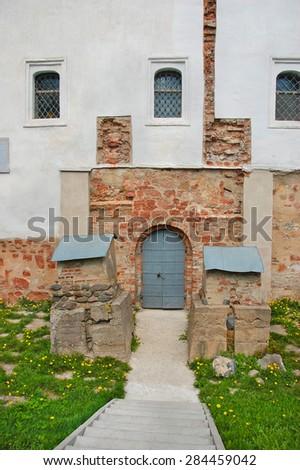 The Church of Saint George at Yaroslav's Court.Fragment of facade. Velikiy Novgorod.Russia. - stock photo