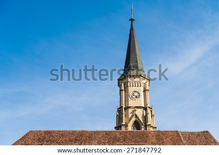 The Church of Saint Michael is a Gothic-style Roman Catholic Church in Cluj-Napoca Built In 1390. - stock photo