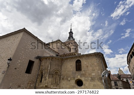 The Church of San Martin in Segovia, Spain, was built in the 12th century in Romanesque style. - stock photo