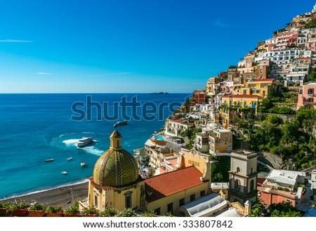 The church of Santa Maria Assunta in Positano Italy. beautiful seascape.  comune on the Amalfi Coast (Costiera Amalfitana) - stock photo