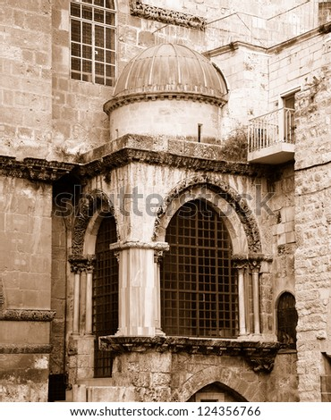 The Church of the Holy Sepulchre. Old City of Jerusalem. Sepia - stock photo