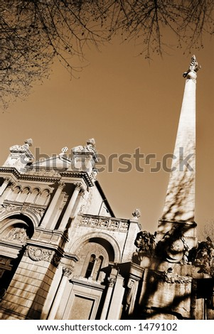 The church of the Madeleine in Aix-en-Provence, France. Digital artwork, Sepia - copy space. - stock photo