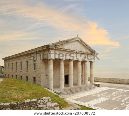 The Church on the Old Fort Island Corfu, Greece at Sunset - stock photo