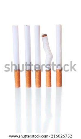 The Cigarettes in a Row with One Crumpled as  Notion that Smoking Spoil Health