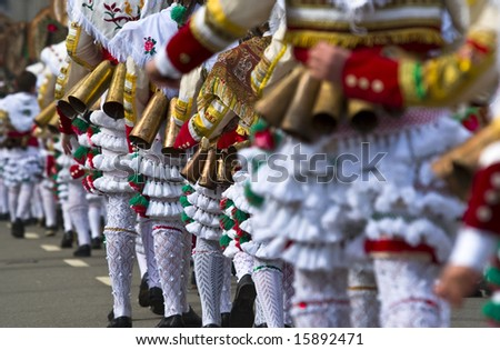 The Cigarrons, the masked figures typical of the Valley of Monterrei,Galician carnival, Spain - stock photo