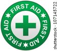 The Circle Green First Aid Sign Isolated on White Background - stock photo