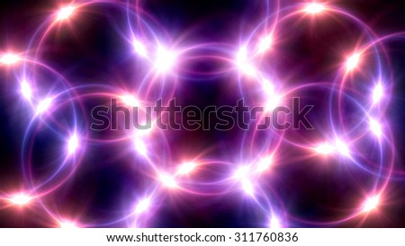 The circle shape of ring lens flares with dark background - stock photo