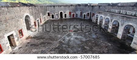 The Citadel at Brimstone Hill Fortress - St Kitts - stock photo