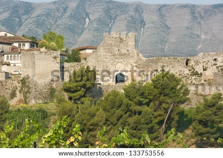 the Citadel is a impressive fortress overlooking the town of Berat, Albania - stock photo