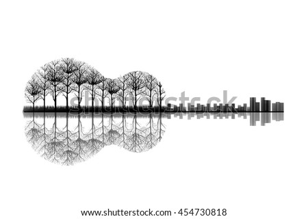 The City And Trees In A Shape Of Guitar Sketch Artwork Creative Idea
